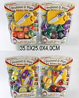 Овощи и фрукты 9805/6 (12-13) (96шт/2) 4 вида,делятся пополам,с ножом, досточкой,на планшетке 35*25*