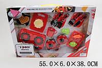 Набор газ.плита 6611D (1773004) (28шт/2) кастрюля, сковорода,столов.приборы,продукты, в кор.55*38*6см