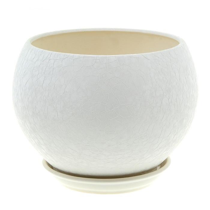 Горшок керамический для пересадки цветов Шар 4,1 шелк розов белый