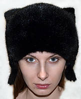 Женская шапка из натурального меха норки - кошка.