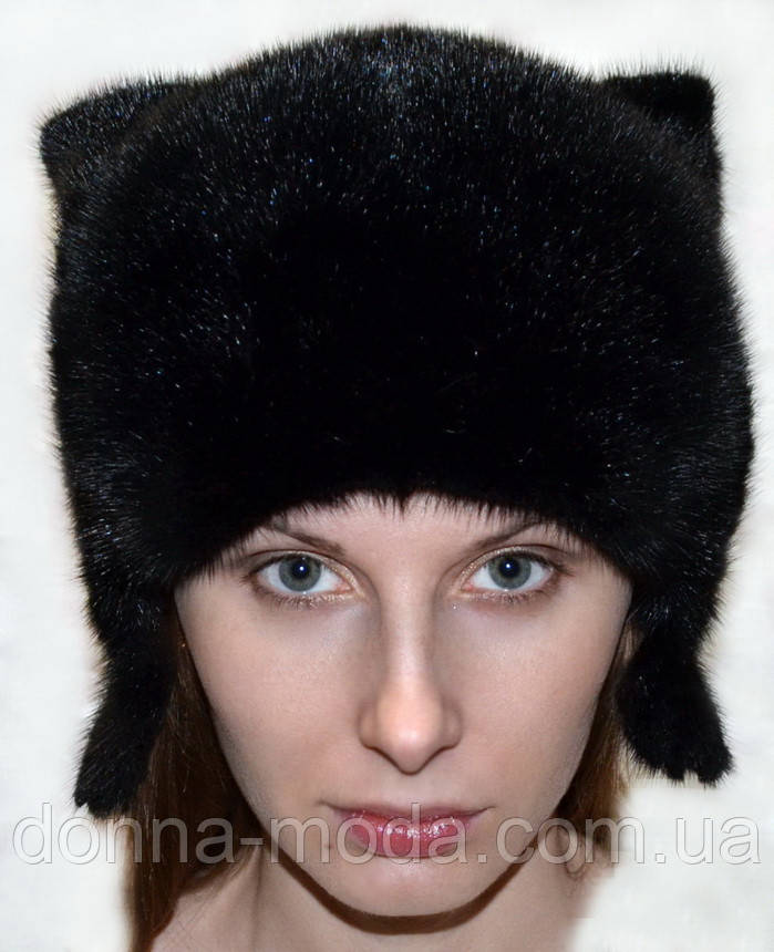 Женская шапка из натурального меха норки - кошка., фото 1