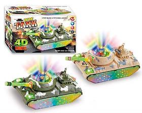 Муз.танк 393-25 (60шт/2)2 цвета,батар.,свет,звук,музыка,в коробке