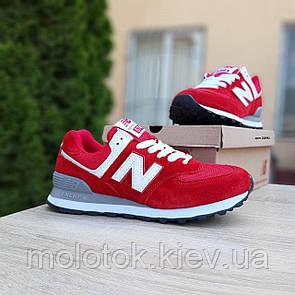 Женские кроссовки в стиле New Balance 574 красные (белая N)