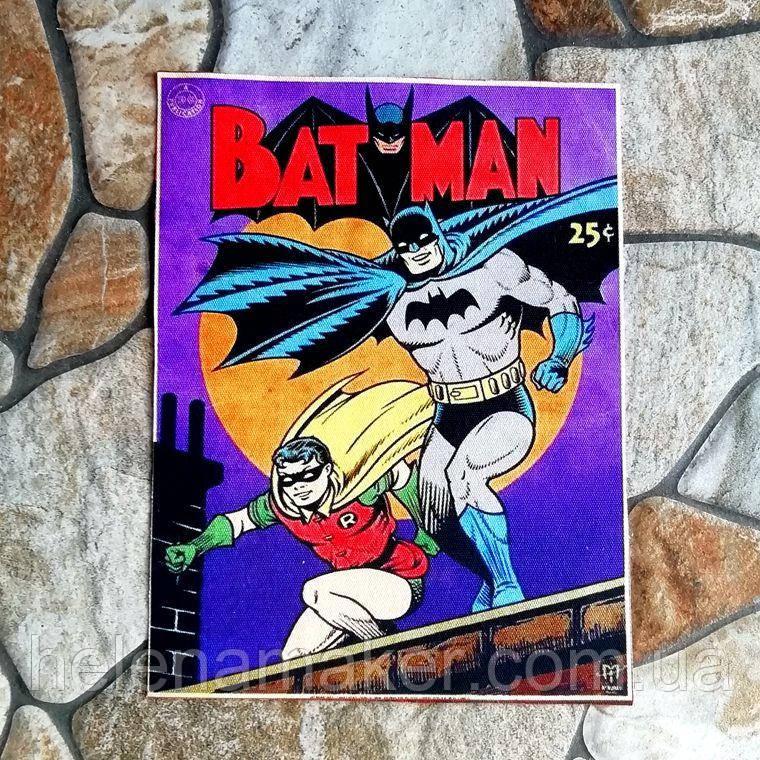 Герои MARVEL BATMAN БЕТМЕН Ткань для творчества, скрапбукинга, аппликация, нашивка, рисунок на ткани. 15*20 см