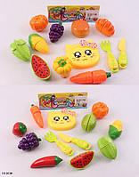 Овощи и фрукты 5020A-18/19 (120шт/2)2вида,делятся пополам,нож,досточка, в пак.19см