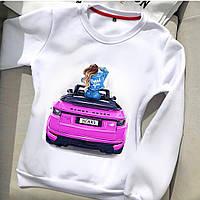 Свитшот женский стильный с модным актуальным принтом Девушка в машине Skr530