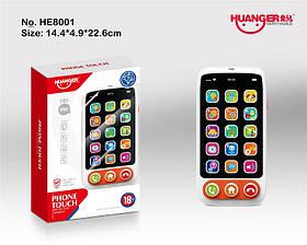Моб.телефон HE8001 (60шт/2)свет,звук, в коробке 14*5*23см