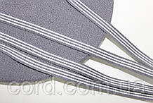 Тесьма Репс 10мм 50м серый + белый