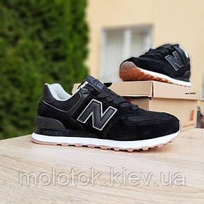 Женские кроссовки в стиле New Balance 574 чёрные на коричневой