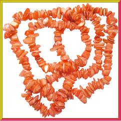 Сколы Ракушки Коралловые с Перламутром, Размер 4-12*2-6 мм, Около 85 см нить, Бусины для Бижутерии, Рукоделие