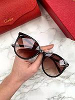 Женские солнцезащитные овальные очки Cartier коричневые с градиентом, фото 1