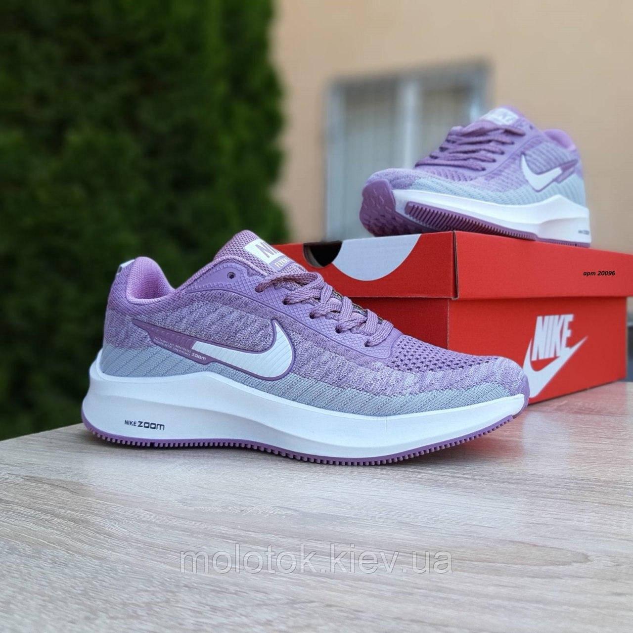 Женские кроссовки в стиле Nike Flyknit Lunar 3 серые с сиреневым