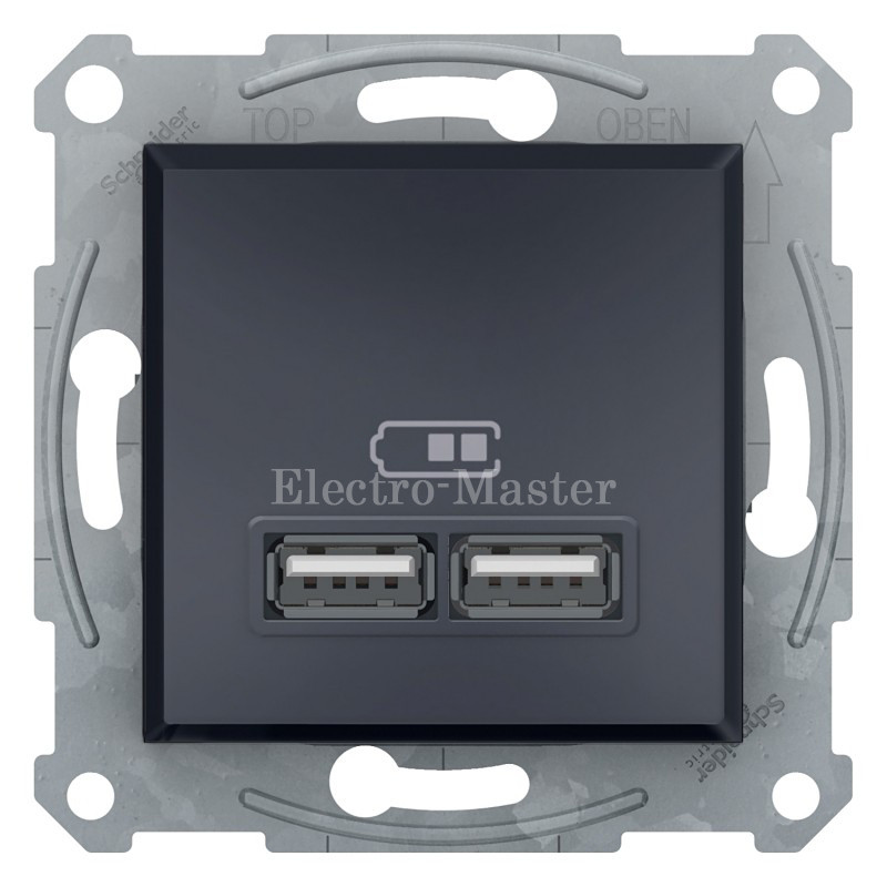 Розетка USB антрацит 2-я Schneider Electric Asfora