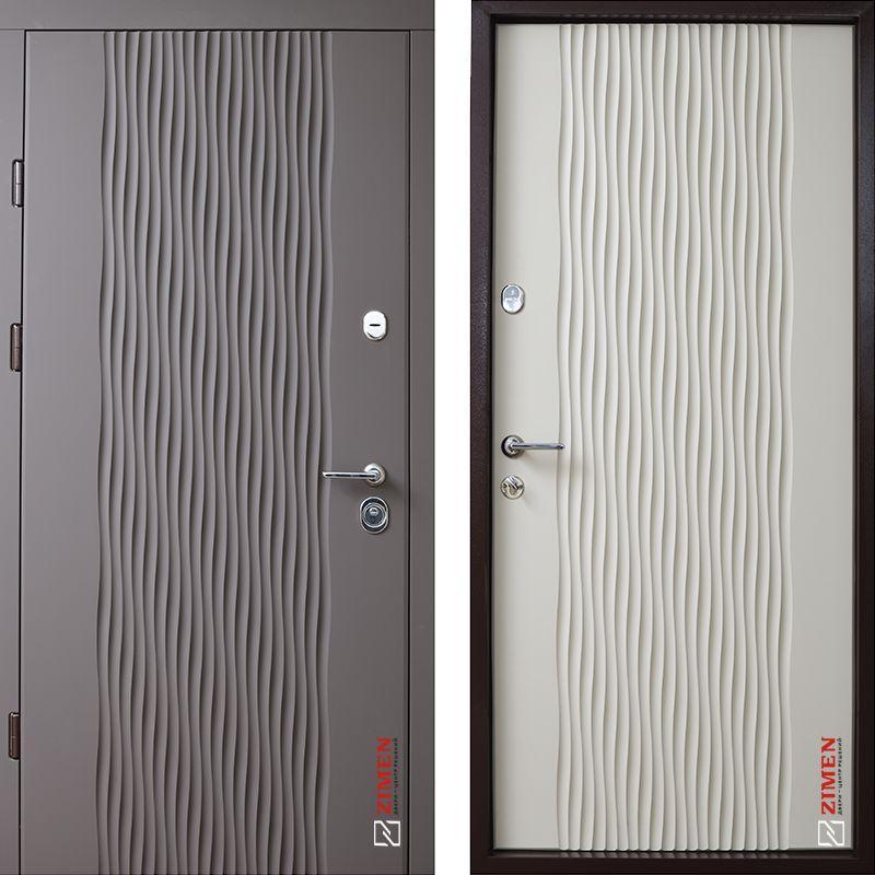 Дверь входная металлическая ZIMEN Wave, Optima Plus, Kale, Силк куантро / Тирамису, 950х2050, левая