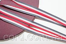 Тесьма Репс 10мм 50м серый + белый + красный