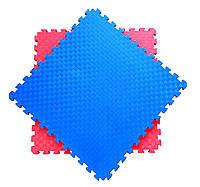 Мат татами Eva-Line Extra Quality синий/красный 100*100*2 см Плетёнка 100 кг/м3 1 сорт