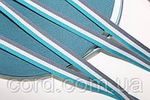 Тесьма Репс 10мм 50м серый + белый + мор. волна