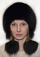 Жіноча шапка вушанка з хутра песця.