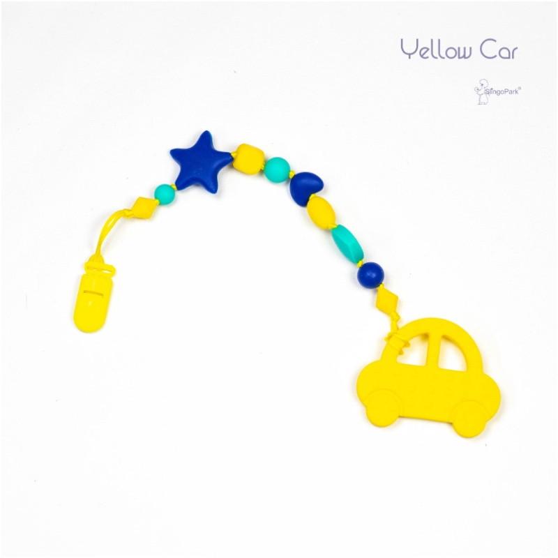 Силиконовый грызунок с держателем BABY MILK TEETH Yellow Car