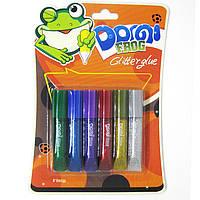 Клей с блестками, набор 6мл*6тюб Domi Frog GG-001