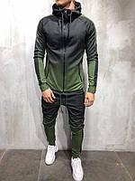 Стильный мужской весенне-летний спортивный костюм черный с зеленым