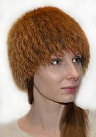 Женская шапка из меха лисицы.