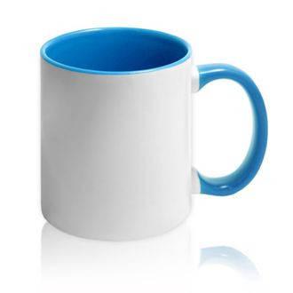 Чашка кольорова всередині і ручка БЛАКИТНА