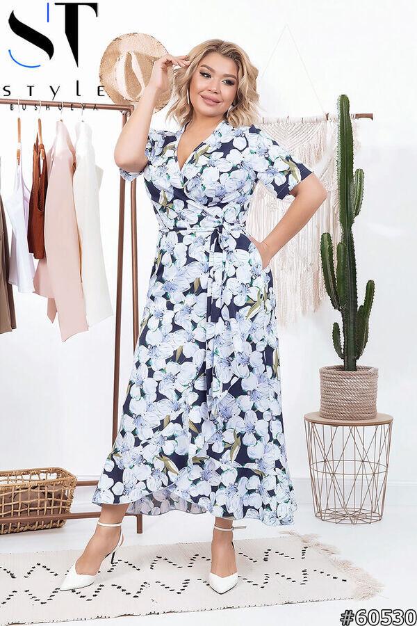 Яркое платье в цветочный принт размеры 50,52,54,56