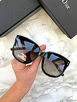 Женские солнцезащитные овальные очки Valentino реплика черные с фиолетовой линзой, фото 1