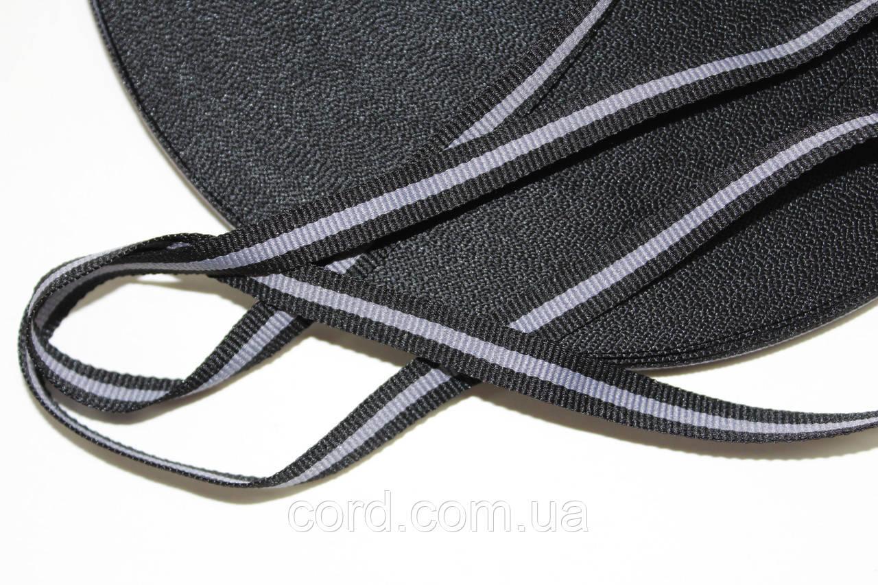 Тесьма Репс 10мм 50м  черный + св. серый