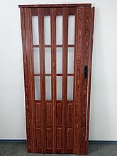 Двері гармошка полуостекленная міжкімнатні черешня 7107, доставка по Україні, 860х2030х12мм