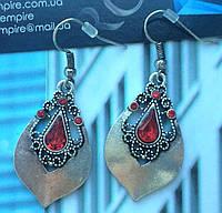 """Серьги """"Аза""""  тибетский сплав серебра, с красными вставками."""