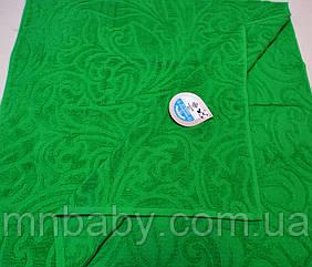 Полотенце махровое жаккард 70*140 см зеленое