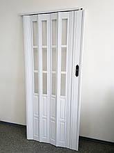 Міжкімнатні розсувні підлозі засклені двері білий ясен 610,860х2030х12мм