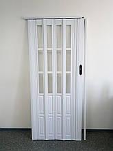 Двері біла гармошка полуостекленная 822, 860х2030х12мм