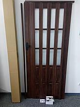 Двері гармошка полуостекленная 860х2030х12мм венге 801, доставка по Україні