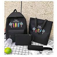 Рюкзак набор для девочки 4 предмета (сумка, клатч, пенал) помпоном черный.