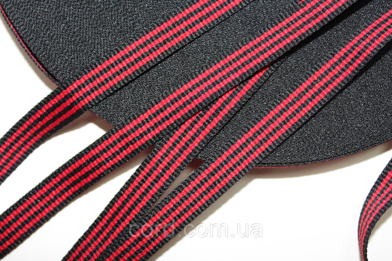 Тесьма Репс 10мм 50м   черный + красный