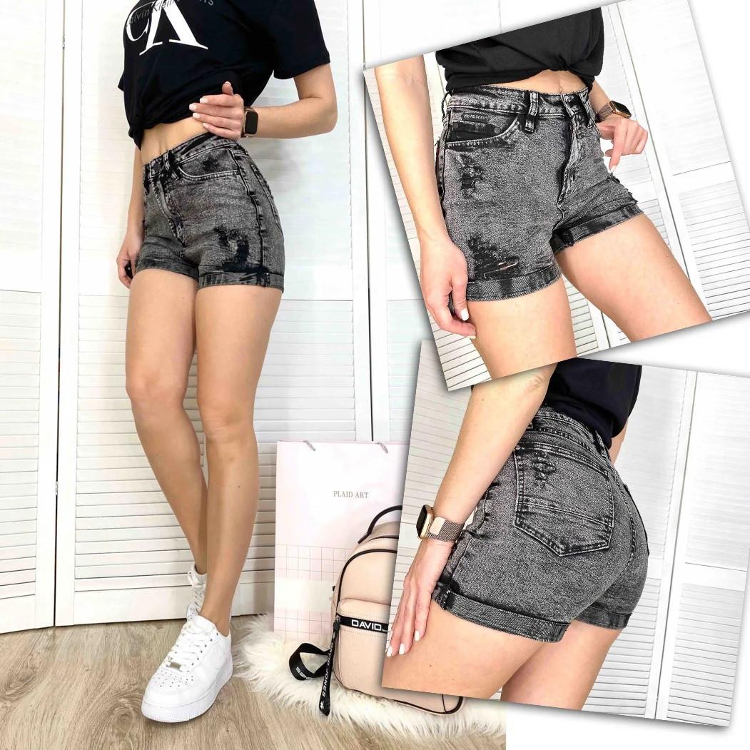 Женские джинсовые шорты рваные стрейчевые черные