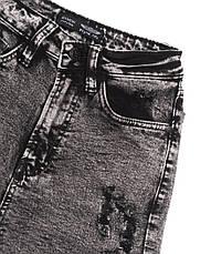 Женские джинсовые шорты рваные стрейчевые черные, фото 3