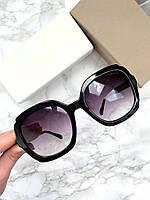 Женские солнцезащитные очки Prada  реплика черные с фиолетовой линзой, фото 1