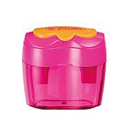 Точилка Herlitz Double з контейнером 2 отвори рожева