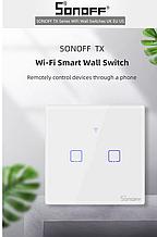 Sonoff Touch T0 2 gang (2 кнопки)Wi-fi двоканальний сенсорний розумний вимикач