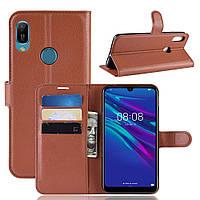 Чехол Luxury для Huawei Y6 2019 / Y6 Pro 2019 книжка коричневый, фото 1