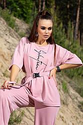 Женский летний прогулочный костюм розовый двунитка