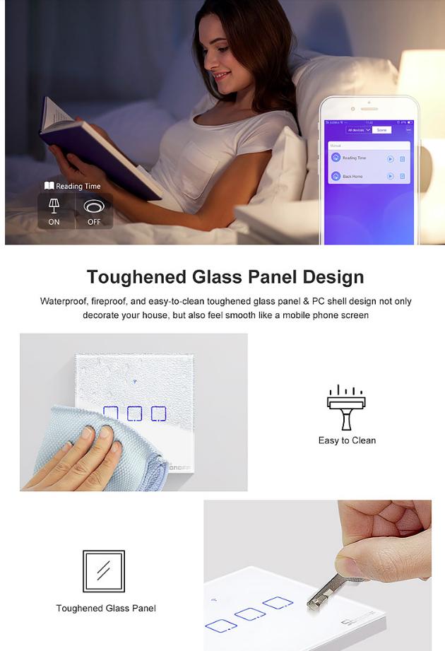 Sonoff Touch T0 3gang (3 кнопки)Wi-fi трехканальный сенсорный умный выключатель