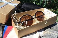 Солнцезащитные очки коричневые круглые женские