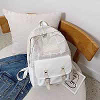 Школьный рюкзак с накладным карманом в клетку. 4 цвета.