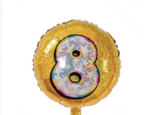 """Фольгована кулька коло голограма золота з цифрою """"8"""" / 18"""" Китай"""