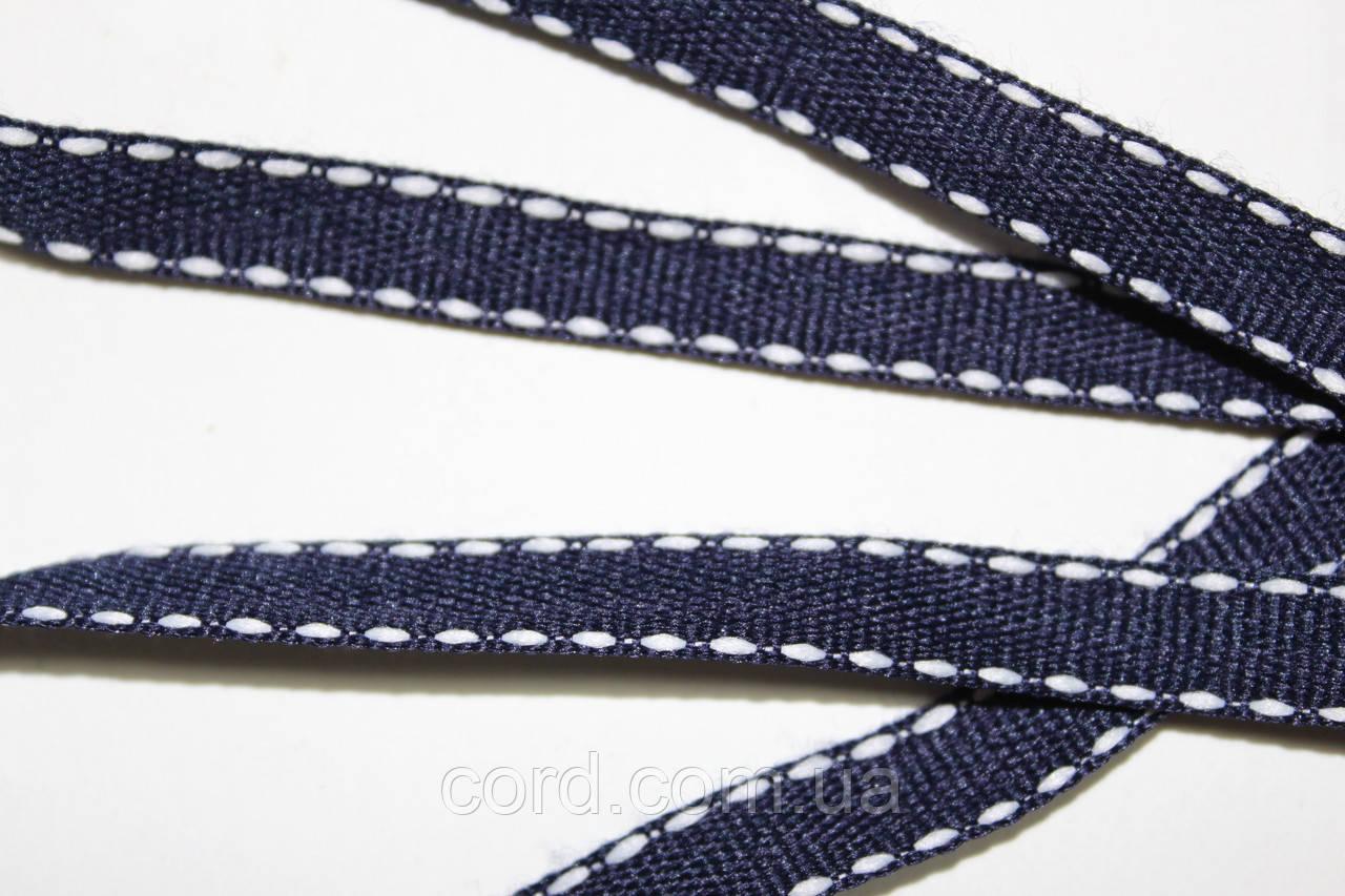 Тесьма Репс 10мм 50м  синий + белый